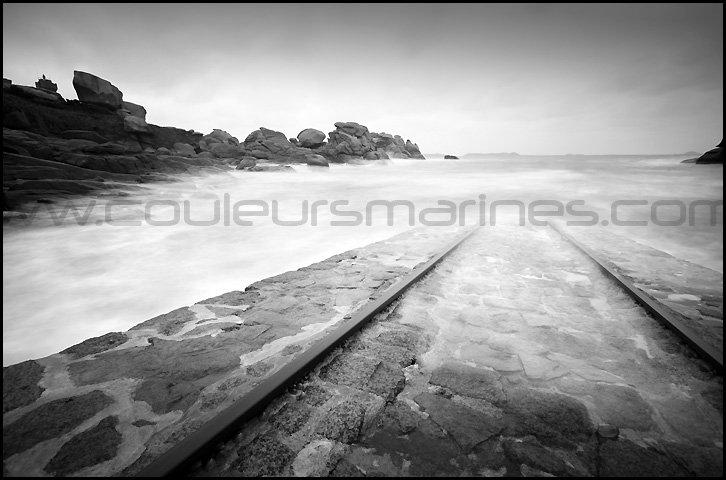 Bretagne, photos de mer en noir et blanc, pose longue