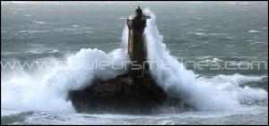 Tempête en Bretagne. Phare de la Vieille.